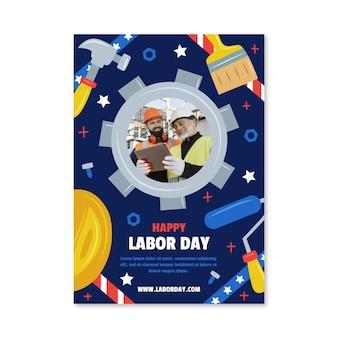 Modèle d'affiche verticale de la fête du travail dessiné à la main avec photo