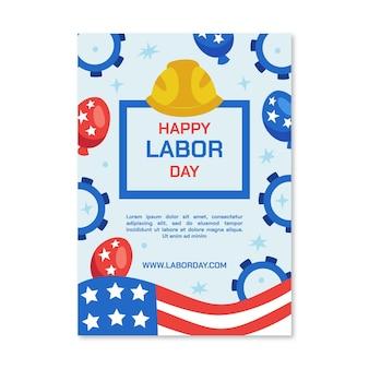 Modèle d'affiche verticale de la fête du travail dessiné à la main