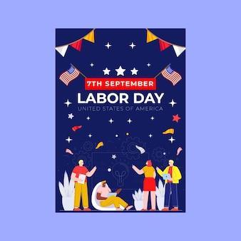 Modèle d'affiche verticale de la fête du travail plat
