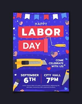 Modèle d'affiche verticale de la fête du travail