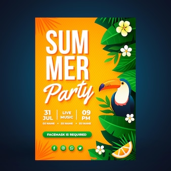 Modèle d'affiche verticale de fête d'été dégradé