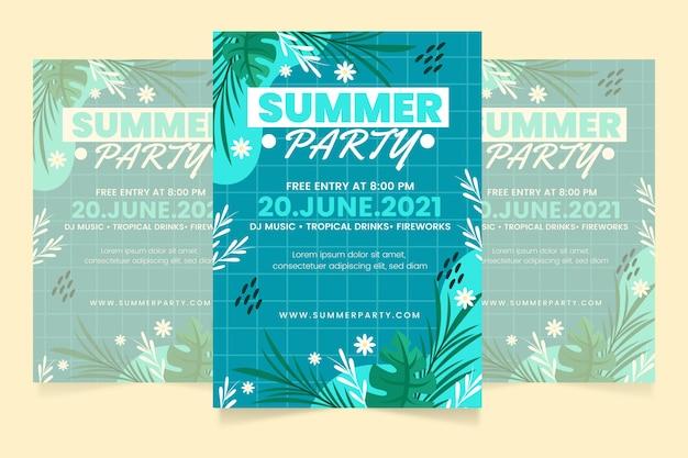 Modèle d'affiche verticale de fête d'été de dessin animé