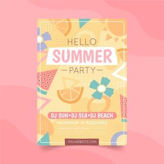 Modèle d'affiche verticale de fête d'été dessiné à la main