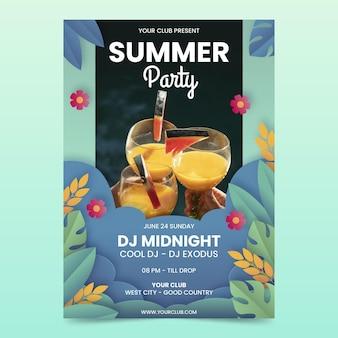 Modèle d'affiche verticale de fête d'été avec photo en style papier