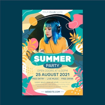 Modèle d'affiche verticale de fête d'été plat bio avec photo