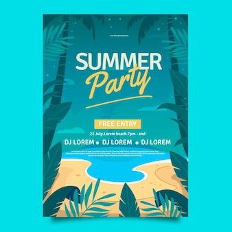 Modèle d'affiche verticale de fête d'été plat bio