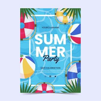 Modèle d'affiche verticale de fête d'été plat