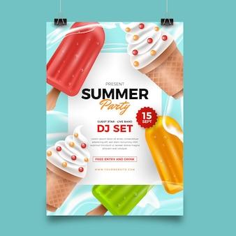Modèle d'affiche verticale de fête d'été réaliste