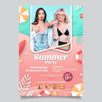 Modèle d'affiche verticale de fête d'été de style papier avec photo