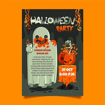 Modèle d'affiche verticale de fête d'halloween dessiné à la main