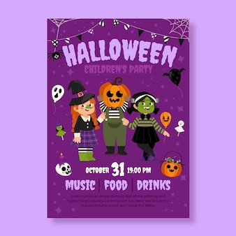 Modèle d'affiche verticale de fête d'halloween plat dessiné à la main