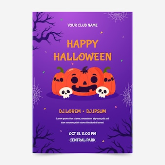 Modèle d'affiche verticale de fête d'halloween plat