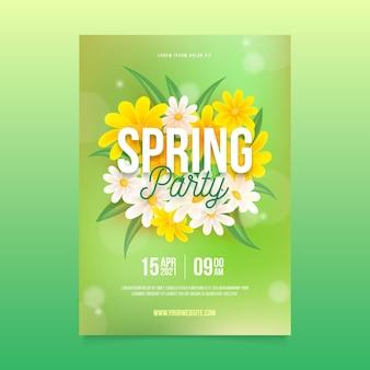 Modèle d'affiche verticale de fête de printemps réaliste