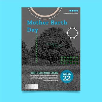 Modèle d'affiche verticale de la fête de la terre mère
