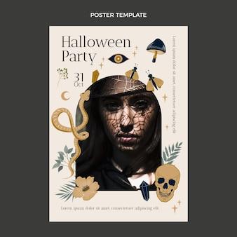 Modèle d'affiche verticale halloween dessiné à la main