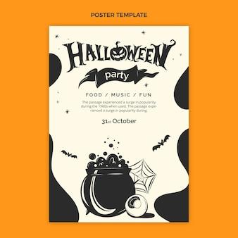 Modèle d'affiche verticale halloween plat dessiné à la main