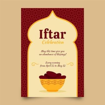 Modèle d'affiche verticale iftar dessiné à la main