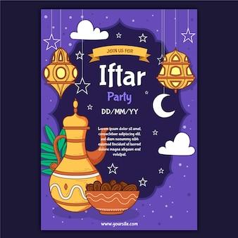Modèle D'affiche Verticale Iftar Dessiné à La Main Vecteur gratuit