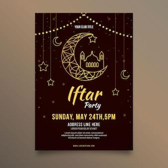 Modèle d'affiche verticale iftar plat