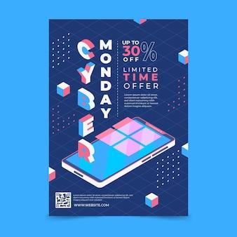 Modèle d'affiche verticale isométrique du cyber lundi