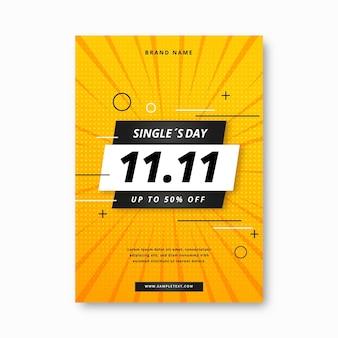 Modèle d'affiche verticale de jour de célibataire dégradé
