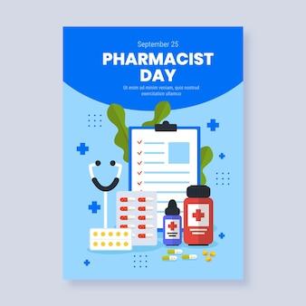 Modèle d'affiche verticale de jour de pharmacien plat
