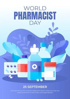 Modèle d'affiche verticale de la journée du pharmacien dégradé