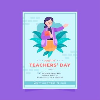 Modèle d'affiche verticale de la journée des enseignants heureux plats dessinés à la main
