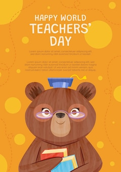 Modèle d'affiche verticale de la journée des enseignants plats dessinés à la main