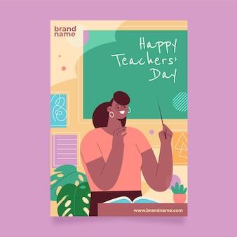 Modèle d'affiche verticale de la journée des enseignants plats