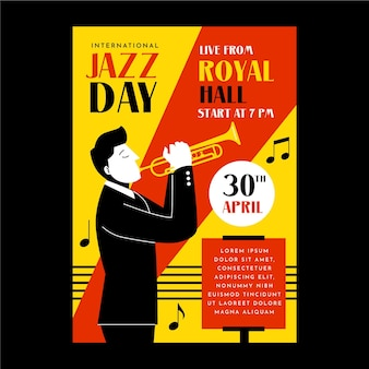 Modèle d'affiche verticale de la journée internationale du jazz dessiné à la main