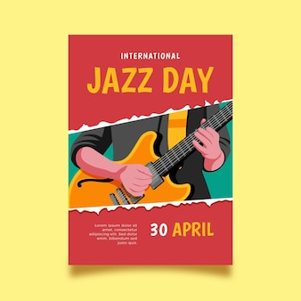 Modèle d'affiche verticale de la journée internationale du jazz dessiné à la main