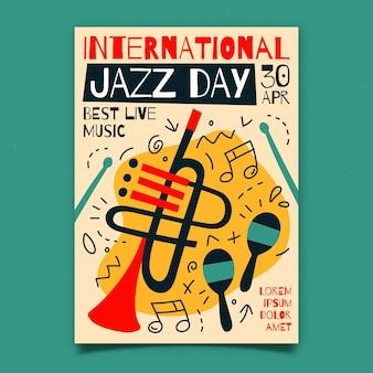 Modèle d'affiche verticale de la journée internationale du jazz plat organique