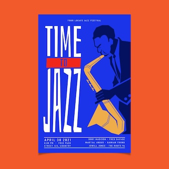 Modèle d'affiche verticale de la journée internationale du jazz plat organique
