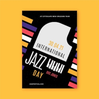 Modèle d'affiche verticale de la journée internationale du jazz plat