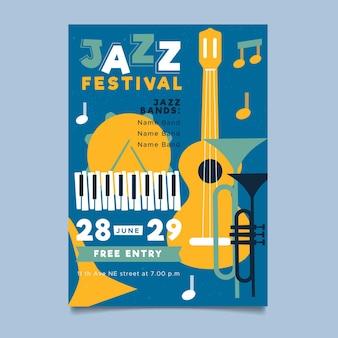 Modèle d'affiche verticale de la journée internationale du jazz plat