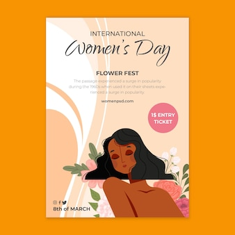 Modèle d'affiche verticale de la journée internationale de la femme