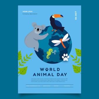 Modèle d'affiche verticale de la journée mondiale des animaux dessinés à la main