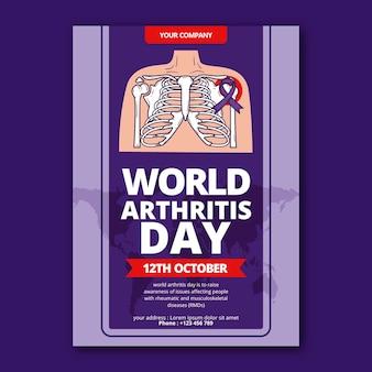 Modèle d'affiche verticale de la journée mondiale de l'arthrite dessinés à la main