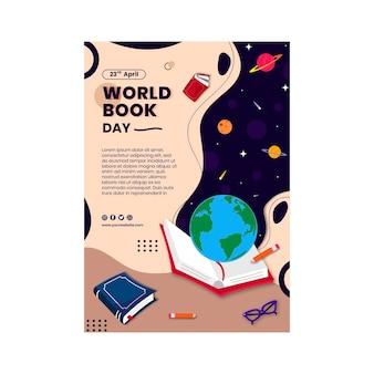 Modèle D'affiche Verticale De La Journée Mondiale Du Livre Vecteur gratuit