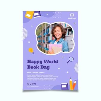 Modèle d'affiche verticale de la journée mondiale du livre