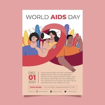 Modèle d'affiche verticale de la journée mondiale du sida dessiné à la main