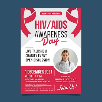 Modèle d'affiche verticale de la journée mondiale du sida