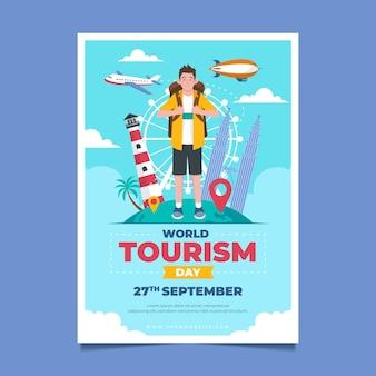 Modèle d'affiche verticale de la journée mondiale du tourisme