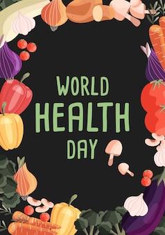 Modèle d'affiche verticale de la journée mondiale de la santé avec collection de légumes biologiques frais