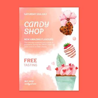 Modèle d'affiche verticale de magasin de bonbons