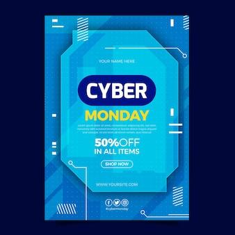 Modèle d'affiche verticale plat cyber lundi
