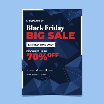 Modèle d'affiche verticale polygonale plat vendredi noir