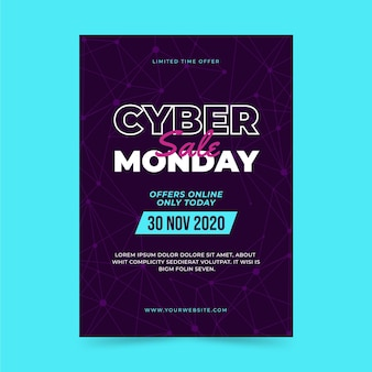 Modèle d'affiche verticale polygonale plate du cyber lundi