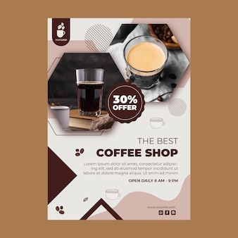 Modèle d'affiche verticale pour café